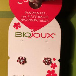 Pendientes Bijoux Flor 6 Cristales Rosa/Blanca