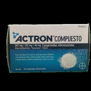 Actron Compuesto 267 mg/ 133 mg/ 40 mg 20 Comprimidos Efervescentes